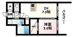 Osaka Metro御堂筋線 江坂駅 徒歩7分の賃貸マンション 4階1DKの間取り