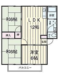 埼玉県上尾市上尾宿の賃貸アパートの間取り