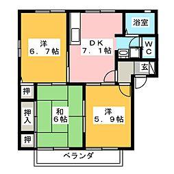 ウィステリア東宮 B[2階]の間取り