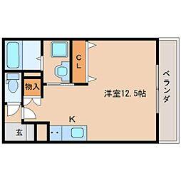 近鉄奈良線 新大宮駅 徒歩5分の賃貸マンション 3階ワンルームの間取り