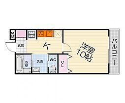 南海線 泉大津駅 徒歩14分の賃貸マンション 3階1Kの間取り