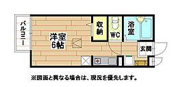 福岡県北九州市戸畑区小芝1丁目の賃貸アパートの間取り
