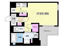 リーガル京都五条大宮 3階1Kの間取り