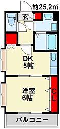 リファレンス小倉 6階1DKの間取り