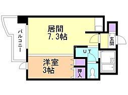 札幌ビオス館 2階1DKの間取り