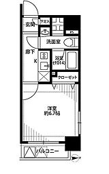JR山手線 東京駅 徒歩8分の賃貸マンション 5階1Kの間取り
