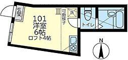 JR京浜東北・根岸線 磯子駅 徒歩13分の賃貸アパート 1階ワンルームの間取り