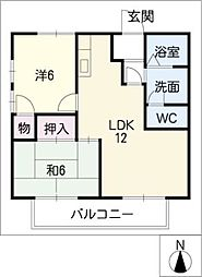 ウエストサイドKENZO A棟[2階]の間取り