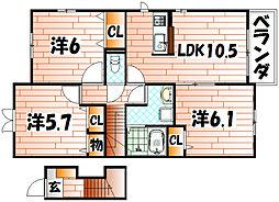 ル・シアン サキタ[2階]の間取り