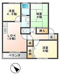 グリーンメゾンA棟、B棟[2階]の間取り