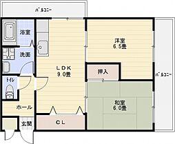クレールコート安堂[2階]の間取り