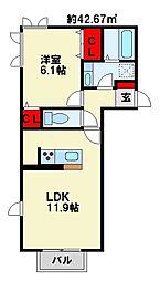 トレス苅田貮番館[2階]の間取り