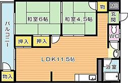 青山コーポ[3階]の間取り
