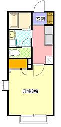 小田急小田原線 相模大野駅 バス15分 大野台8丁目下車 徒歩1分の賃貸アパート 1階1Kの間取り