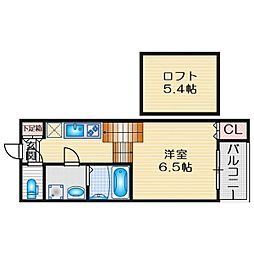 近鉄名古屋線 烏森駅 徒歩3分の賃貸アパート 2階1SKの間取り