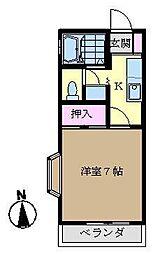 ヒルズ金沢[203号室]の間取り