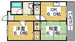 アールマンション堺[3階]の間取り