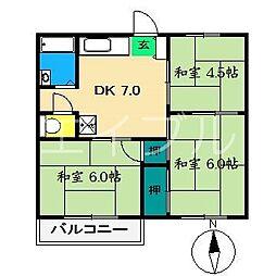 エバーグリーンハイツ[2階]の間取り