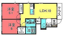 滋賀県栗東市下鈎の賃貸アパートの間取り