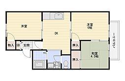 Maison大久保A棟B棟[B203号室]の間取り