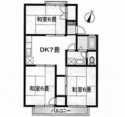 JR山陽本線 広島駅 徒歩31分の賃貸アパート 1階3DKの間取り