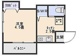 神奈川県横浜市神奈川区神奈川本町の賃貸アパートの間取り