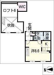 プリマグランデ安城弐番館 1階ワンルームの間取り