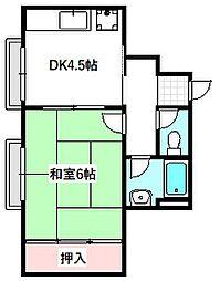 Osaka Metro谷町線 守口駅 徒歩7分の賃貸マンション 2階1DKの間取り
