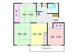 すすき野団地3-14[1階]の間取り