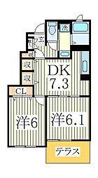 エアリーヒル 天王台 II番館[1階]の間取り