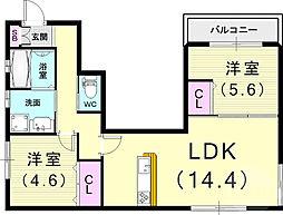 (仮)フィカーサ曾和町 2階2LDKの間取り