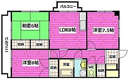 広島県広島市安芸区船越南2丁目の賃貸マンションの間取り