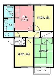 エスポワールハイツ 1階3DKの間取り