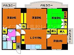 香川県高松市番町1丁目の賃貸マンションの間取り