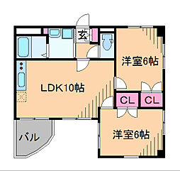 神奈川県横浜市港北区日吉4丁目の賃貸マンションの間取り