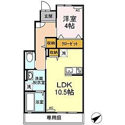 JR山陽本線 福山駅 5.5kmの賃貸アパート 1階1LDKの間取り