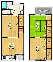 [テラスハウス] 京都府京都市西京区大枝西長町 の賃貸【/】の間取り