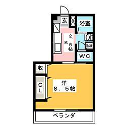 グリーンコート羽島 1階1Kの間取り
