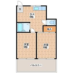 龍美ポロネーズ[2-B号室]の間取り