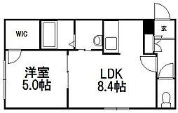 北海道札幌市豊平区中の島一条1丁目の賃貸マンションの間取り
