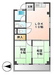 松葉マンション[2階]の間取り
