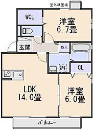 リビングタウン祝園C棟[1階]の間取り