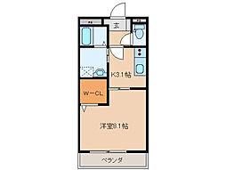 近鉄鳥羽線 宇治山田駅 徒歩21分の賃貸アパート 2階1Kの間取り