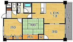 大阪府茨木市沢良宜西3丁目の賃貸マンションの間取り