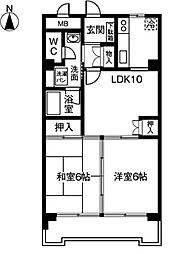 愛知県稲沢市国府宮4丁目の賃貸マンションの間取り