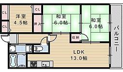 ガーデン松崎[6階]の間取り