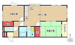 東京都町田市西成瀬1丁目の賃貸アパートの間取り