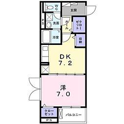 小田急小田原線 本厚木駅 徒歩8分の賃貸マンション 4階1DKの間取り