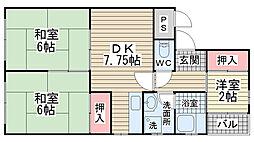 佐々木マンション[5B号室]の間取り