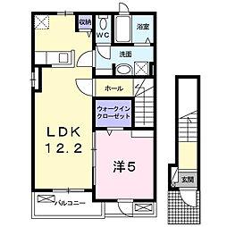 千葉県松戸市小金原5丁目の賃貸アパートの間取り